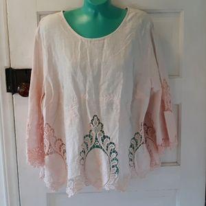 Cynthia Rowley 1X pink lacy blouse